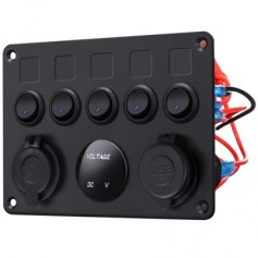 5 Gang Switch Panel 12V/24V with Digital Voltmeter Blue LED Equipped with Cigarette Lighter Socket a