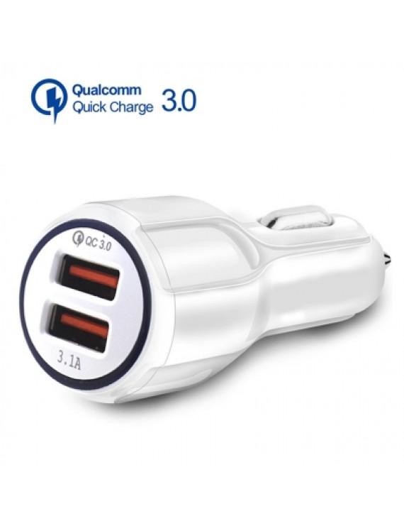 3.1A QC 3.0 Dual USB Quick Charging Car Charger