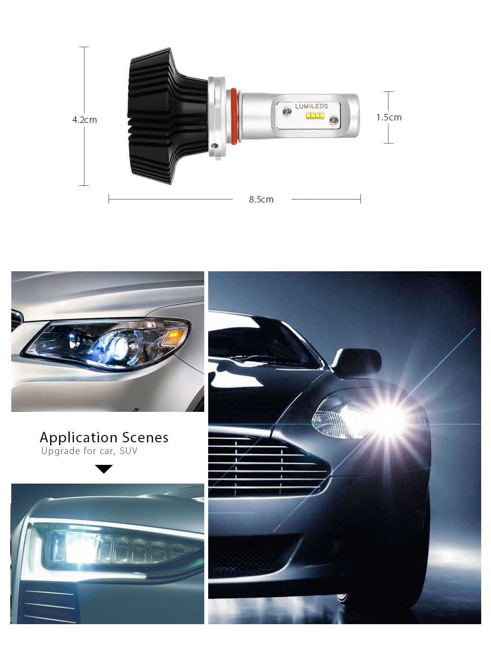 Rectangle 9005 12 - 24V 50W 6400LM Pair of Car LED Headlight 6500K Auto Front Lamp