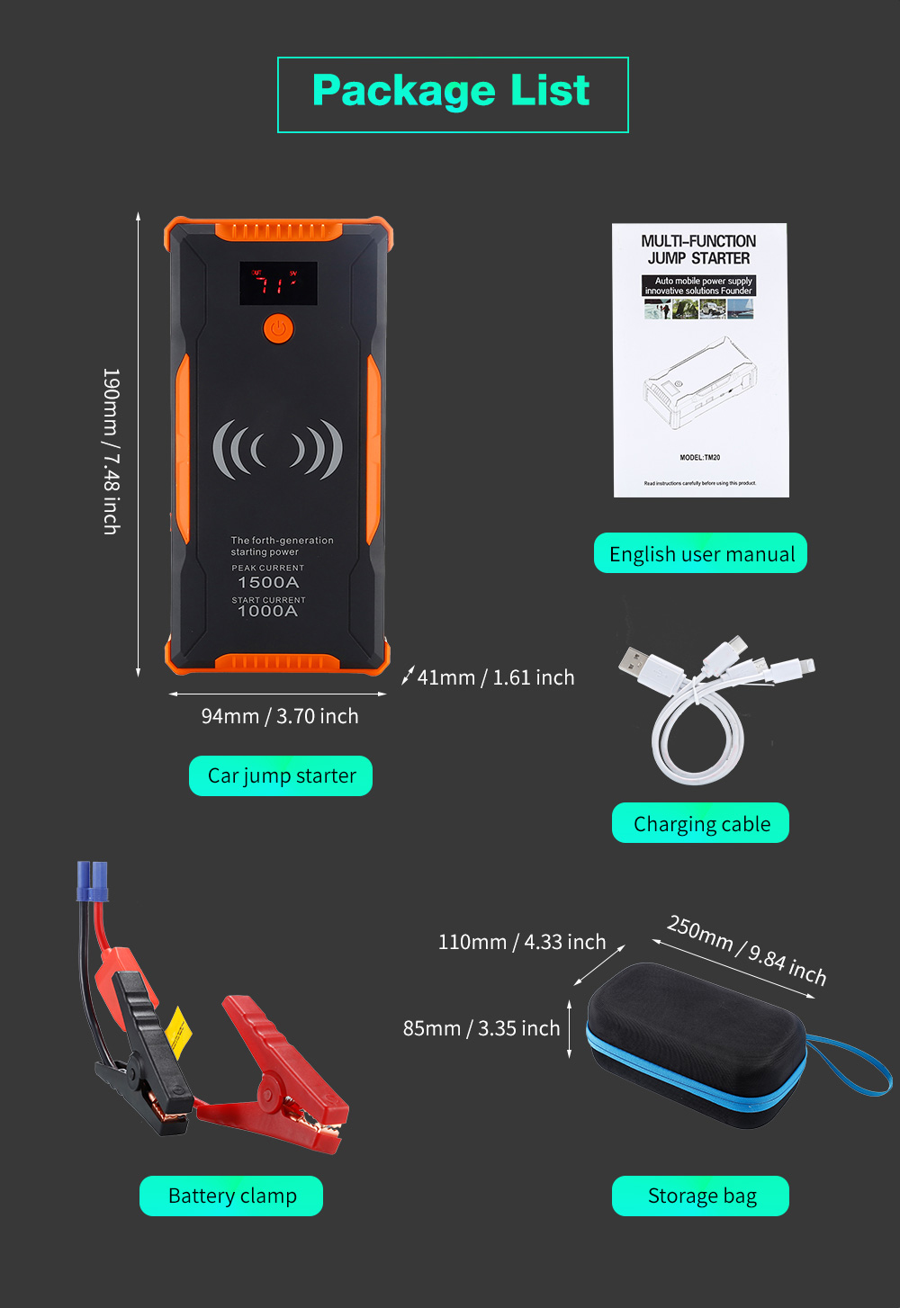 TM20 3 in 1 Portable Car Jump Starter 99900mAh Li-ion Battery 1500A Peak Current 3 Lighting Modes