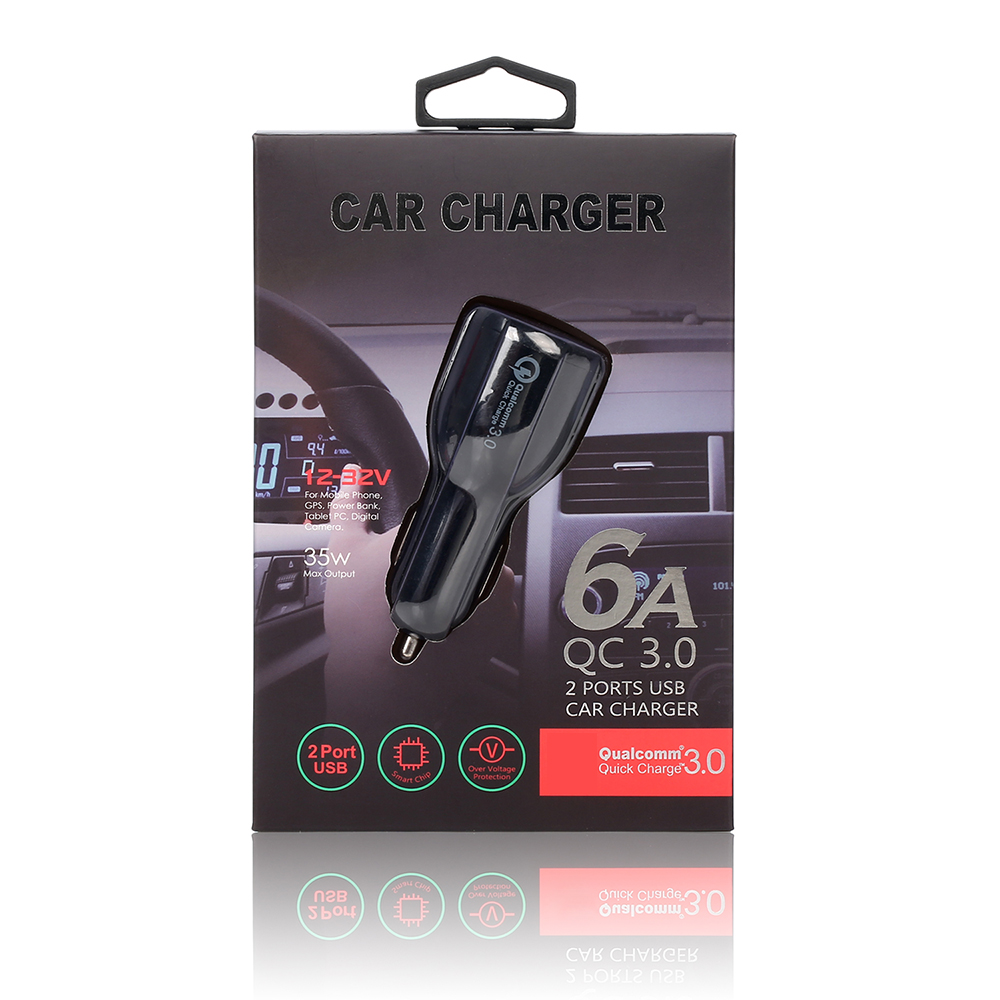 Automotive Charger QC3.0 Mobile Phone Universal Multi Function 3.1A Double USB Vehicle Charging and Dragging Two Adapter