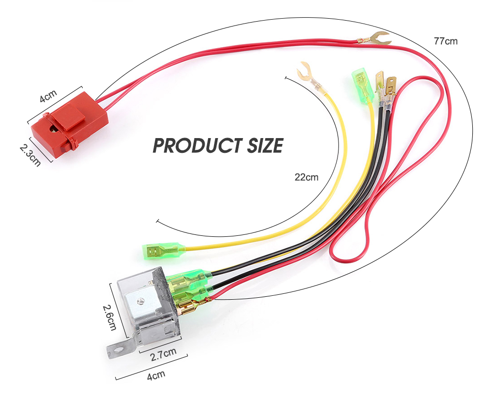JD1912 12V / 24V 40A Relay Harness Copper Wire with Fuse for Vehicle Horn